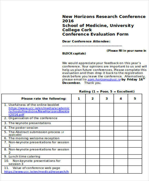 Medical Conference Evaluation Form