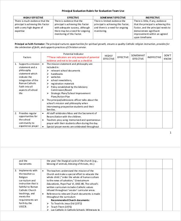 principal evaluation rubric form