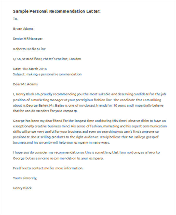 example letter of recommendation 6 sample personal recommendation letters sample templates 21552 | Example of Personal Recommendation Letter