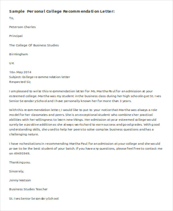 personal recommendation letter for college