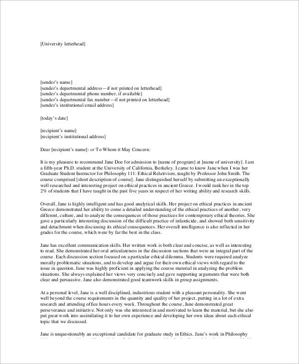 sample academic recommendation letter