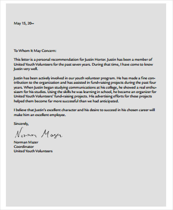personal recommendation reference letter