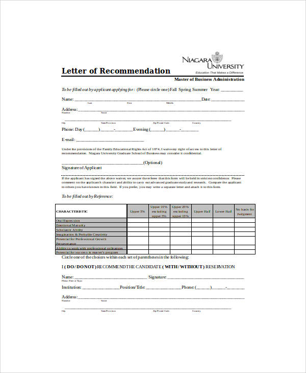 academic recommendation letter template pdf