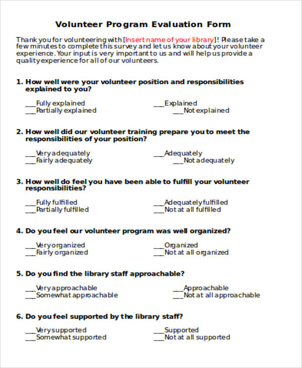 volunteer evaluation form free