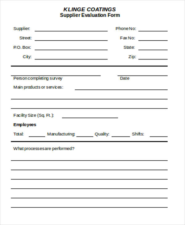 supplier evaluation form doc