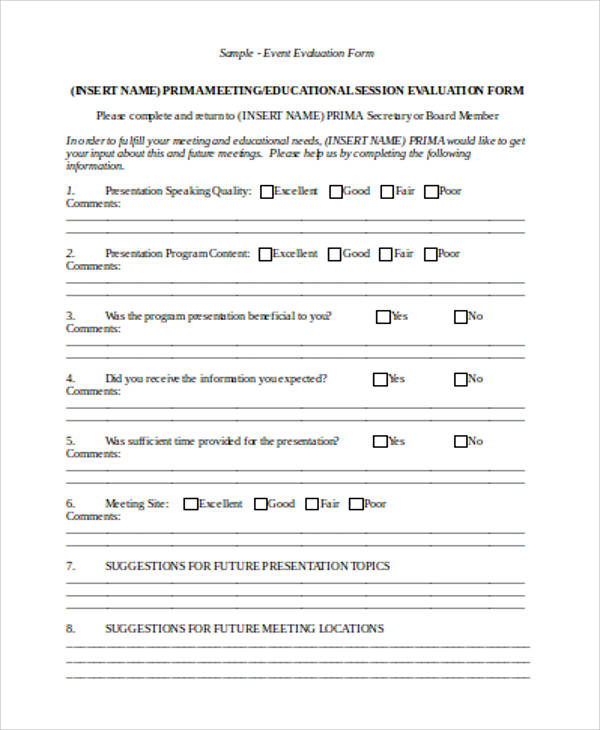 12 sample evaluation forms in word sample templates for Event survey template word