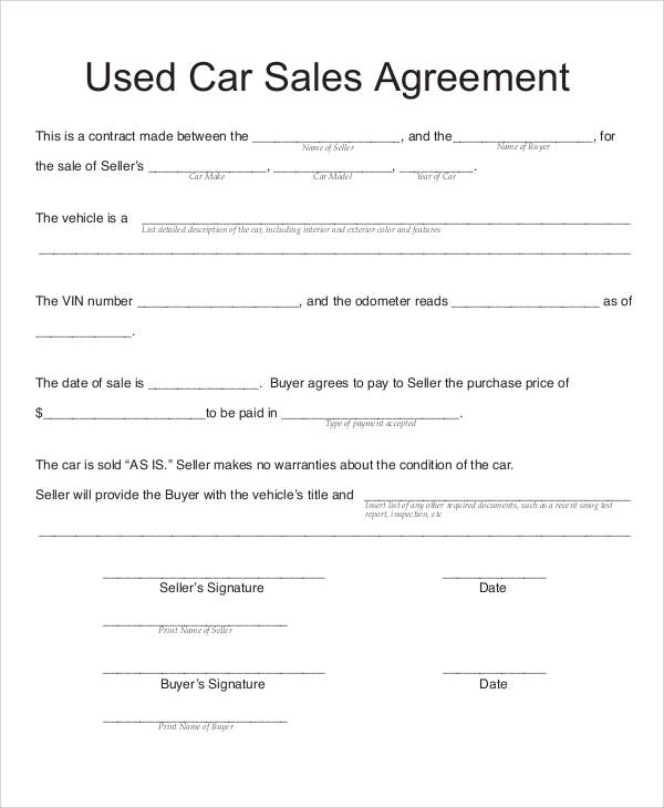Sample Vehicle Sales Contract 6 Examples in Word PDF – Used Car Sales Contract Template