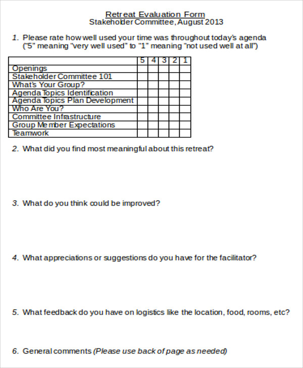 Sample Retreat Evaluation Form   Examples In Word Pdf