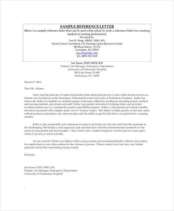Nursing Job Recommendation Letter Sample