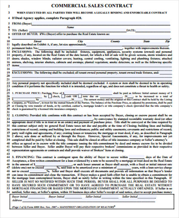 Sample Property Sales Contract   Examples In Word Pdf