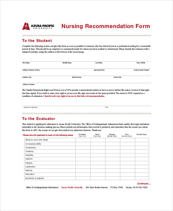 nursing recommendation letter form