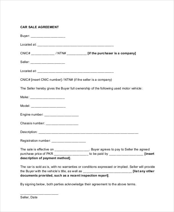 Vehicle Sales Contract Form