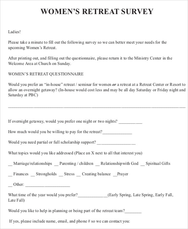 womens retreat evaluation form