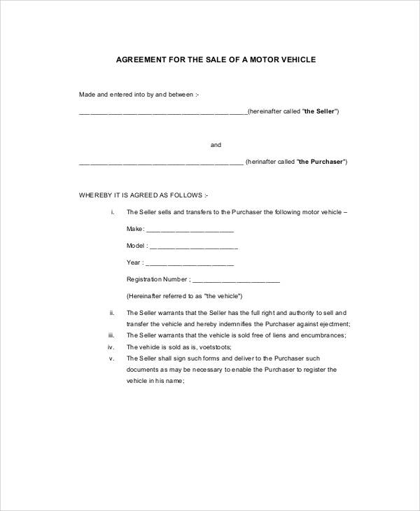 Sample Vehicle Sales Contract 10 Examples In Word Pdf