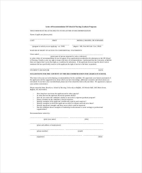 graduate nursing recommendation letter