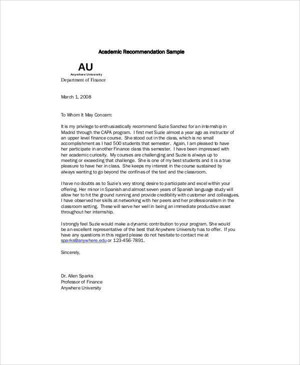 Sample Recommendation Letter For Internship from images.sampletemplates.com