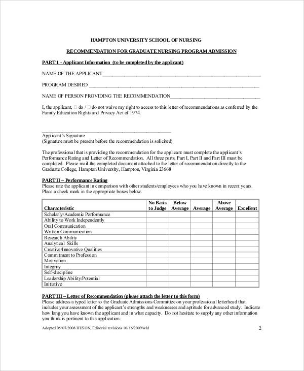 Sample Nursing Recommendation Letter - 9+Examples In Word, Pdf
