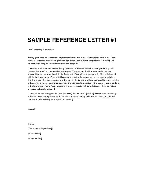 Sample Recommendation Letter For High School Student   Examples