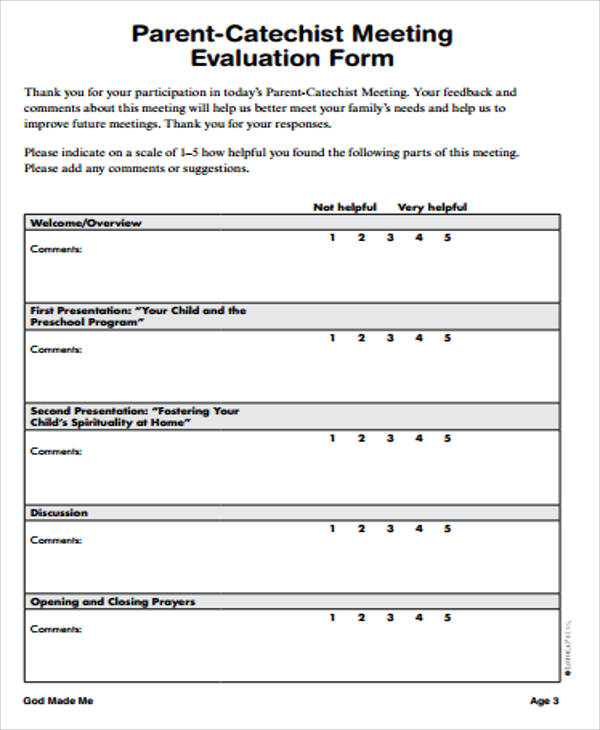parent meeting evaluation form free
