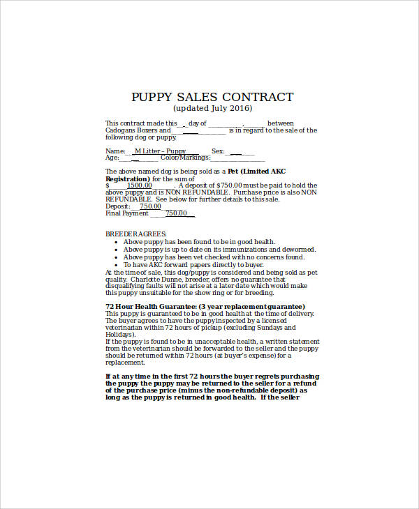 sample puppy sales contract