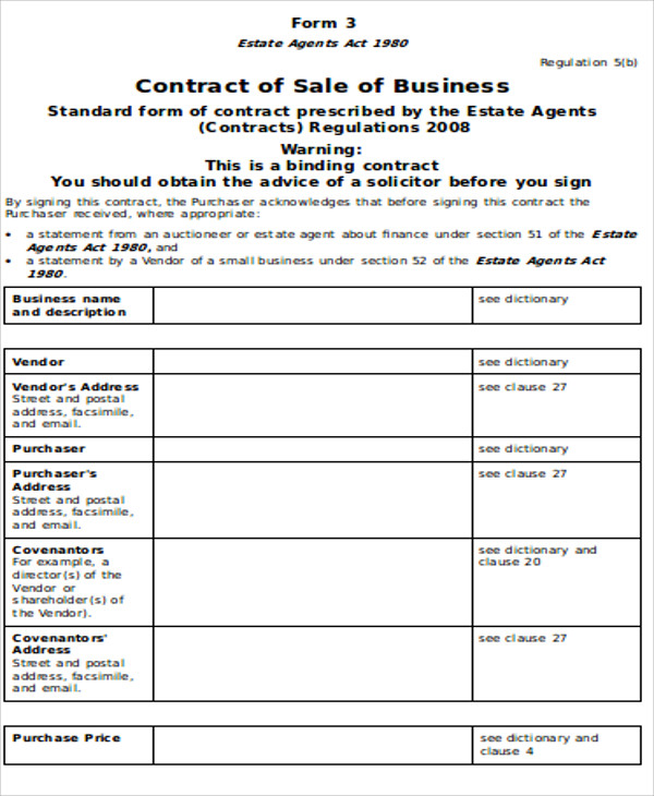 Sample Sales Agreement Contract 9 Examples in Word PDF – Sample Sales Agreement