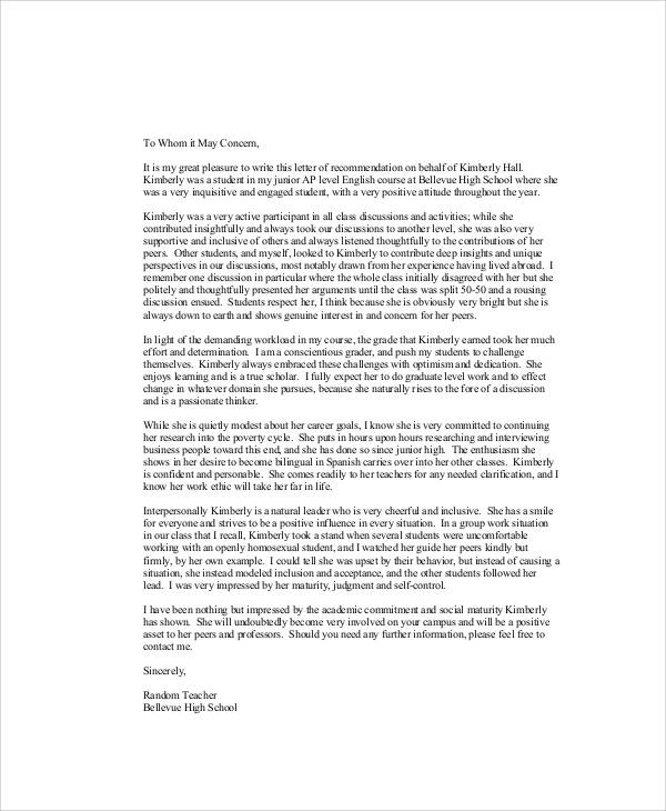 Sample Recommendation Letter For High School Student 9 Examples