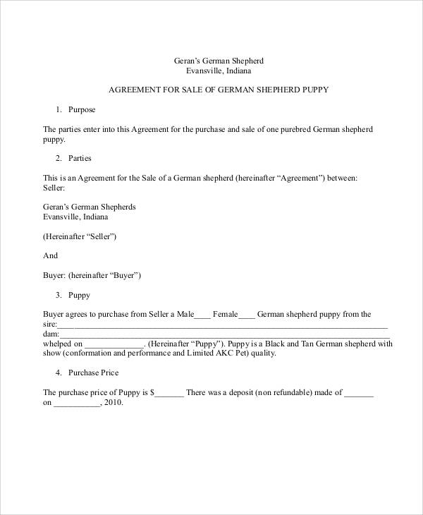 Sample Puppy Sales Contract   Examples In Word Pdf