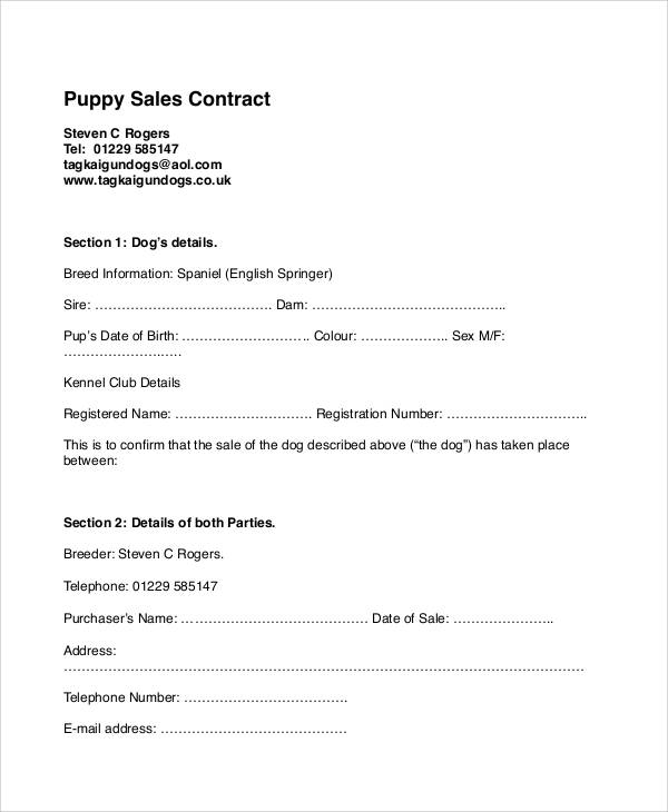 Sample Puppy Sales Contract - 6+ Examples in Word, PDF
