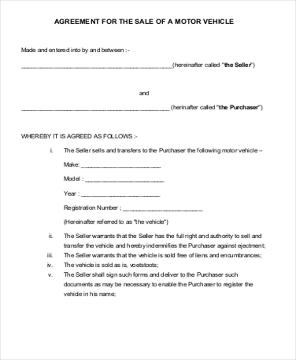 sales agreement contract for a vehicle