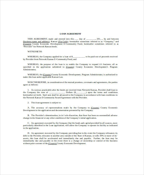 Loan Agreement Word Document Agreement Form Template Personal
