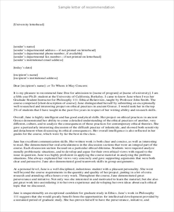 Sample Generic Letter Of Recommendation   Examples In Word Pdf