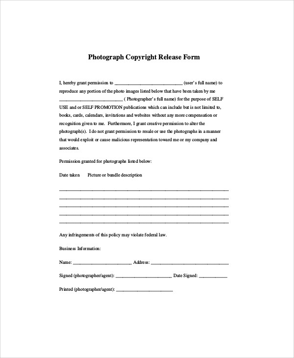 Sample Photographer Release Form   Examples In Word Pdf