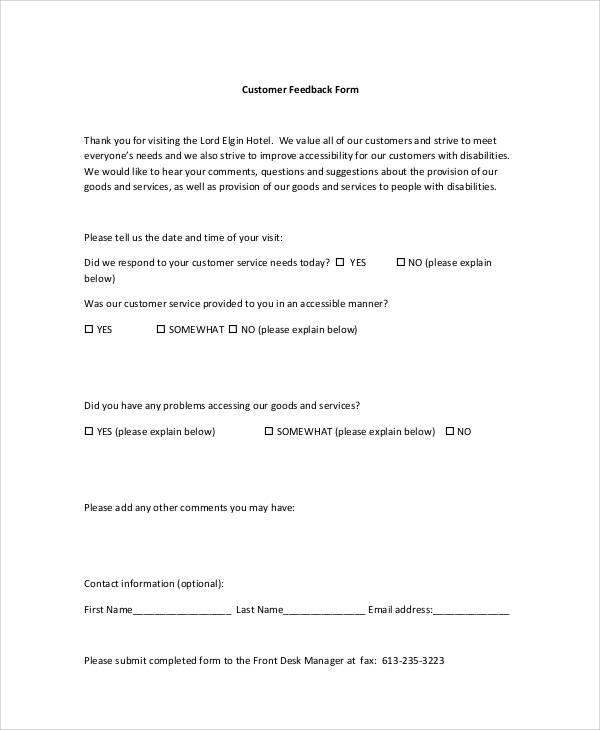 Sample Customer Feedback Form 8 Examples in Word PDF – Customer Contact Form Template
