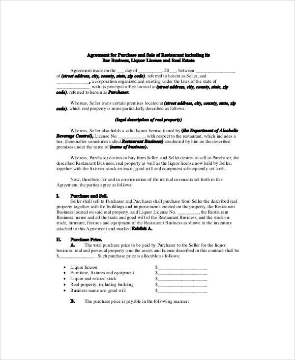Business Sale Agreement Contract  Business Sale Contract Template