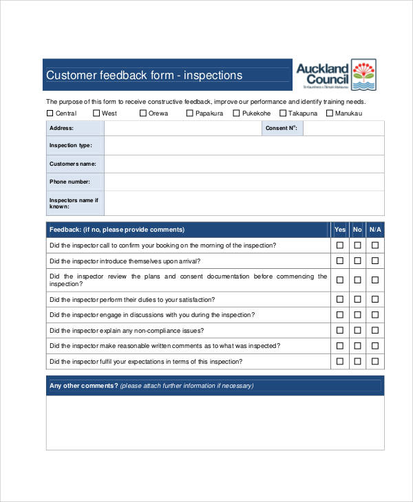 Sample Customer Feedback Form 8 Examples in Word PDF – Client Feedback Form in Word