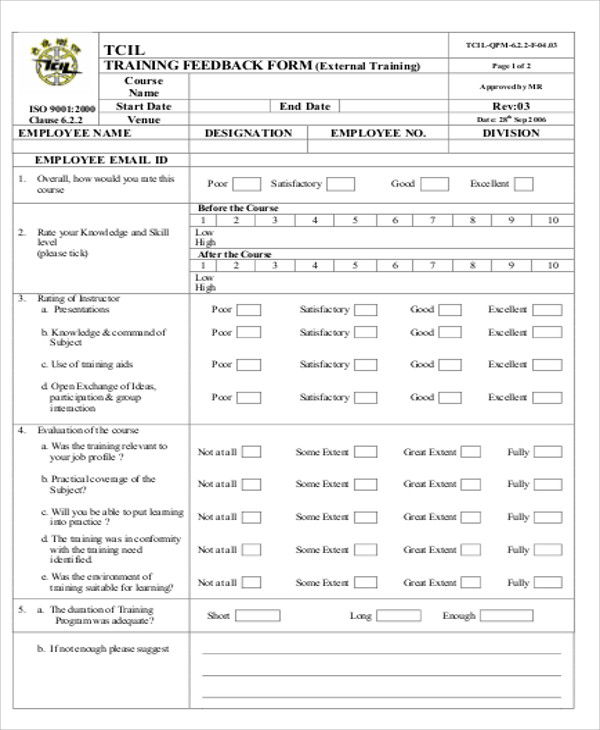 Sample Employee Feedback Form 10 Examples In Word Pdf