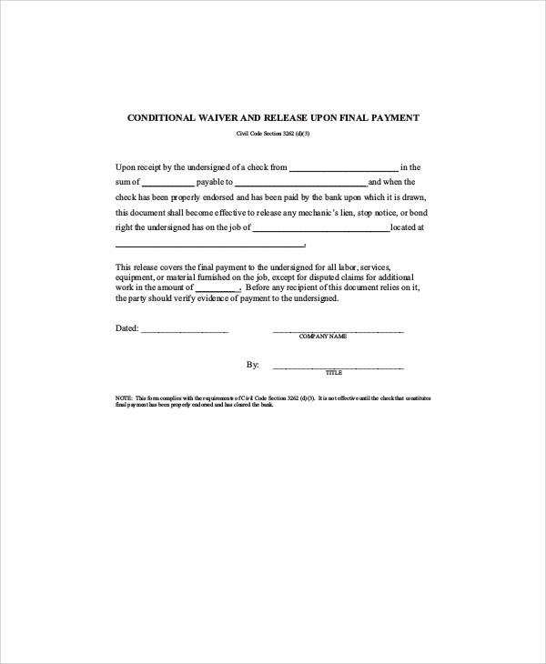 7 sample conditional release forms sample templates for Final lien waiver template