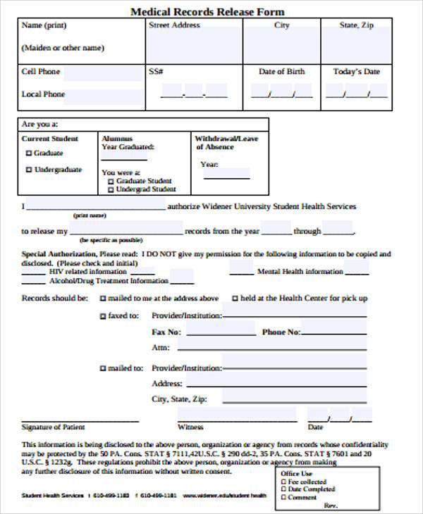 blank records release form pdf