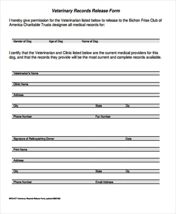 9 sample records release forms sample templates for Veterinary forms templates
