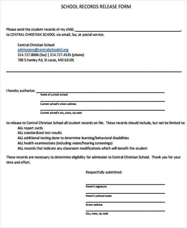 school records release form