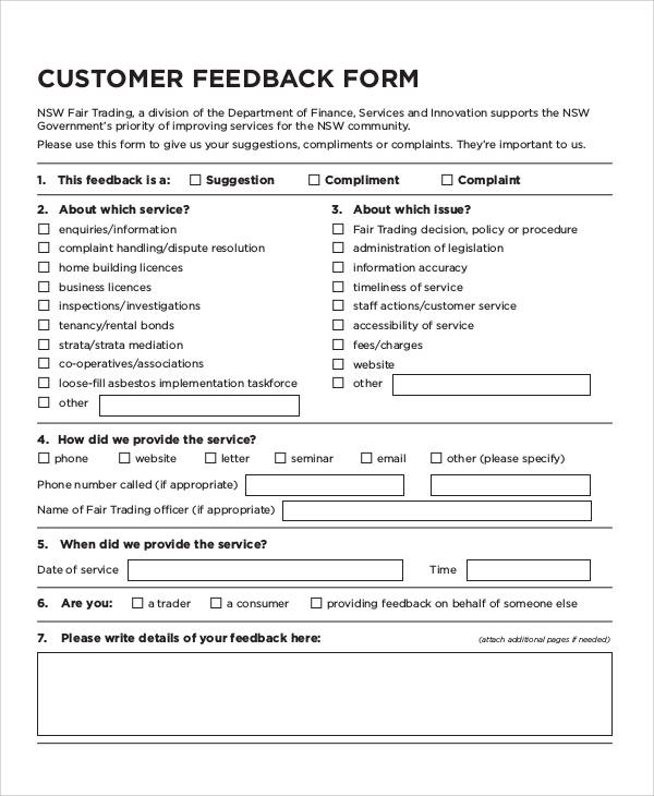 Free 8 Sample Customer Feedback Forms In Ms Word Pdf