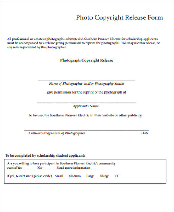 Sample Copyright Release Form   Examples In Word Pdf