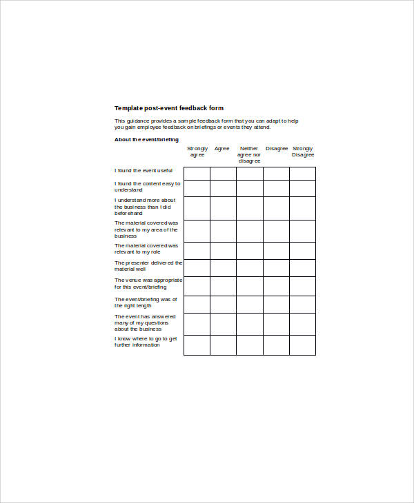 Sample Event Feedback Form 9 Examples in Word PDF – Event Feedback Form