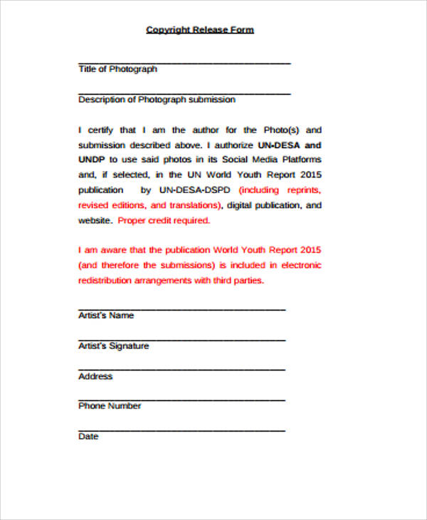 Sample Copyright Release Form 9 Examples in Word PDF – Photo Copyright Release Forms