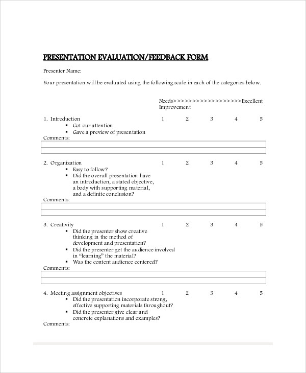 Sample Presentation Feedback Form   Examples In Word Pdf