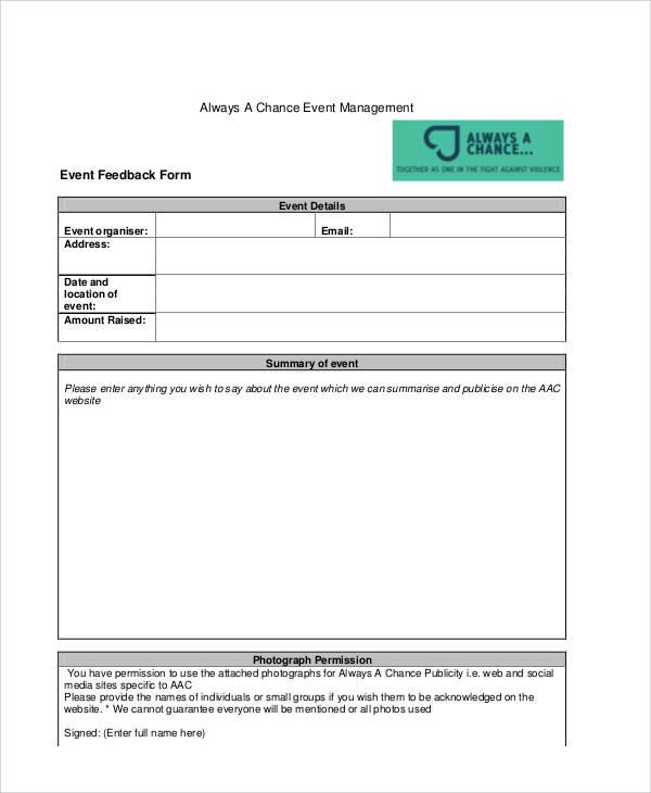 event management feedback form