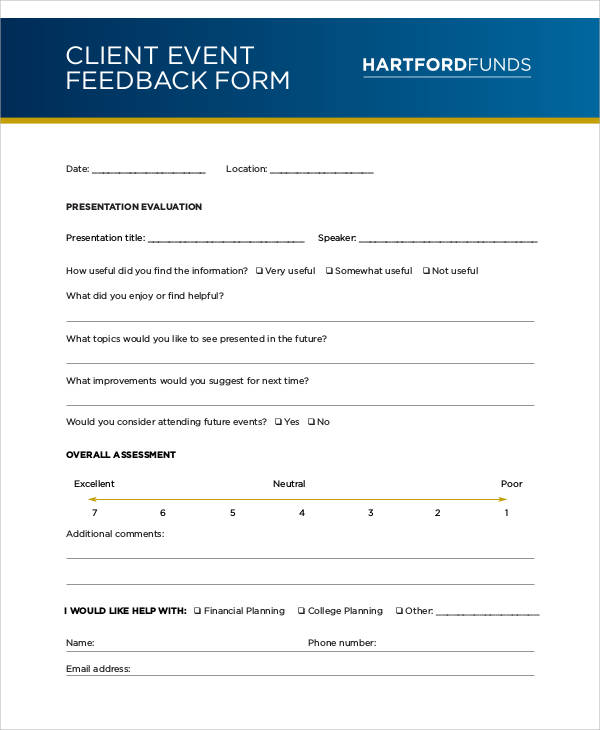 Exceptional Client Event Feedback Form Awesome Design