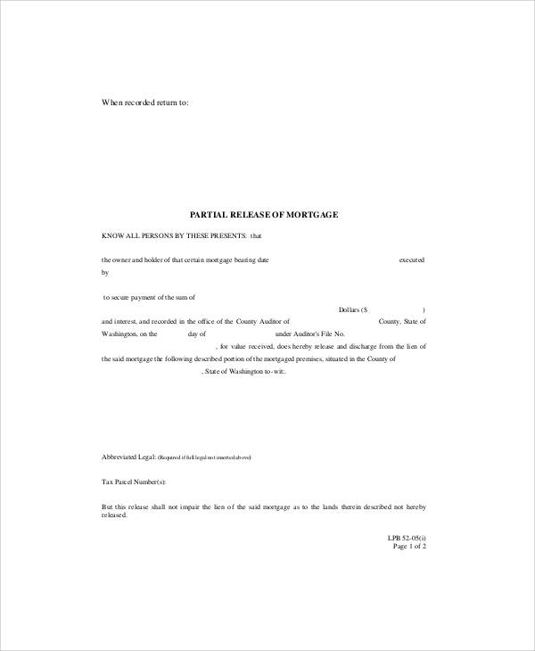 Partial Mortgage Release Form
