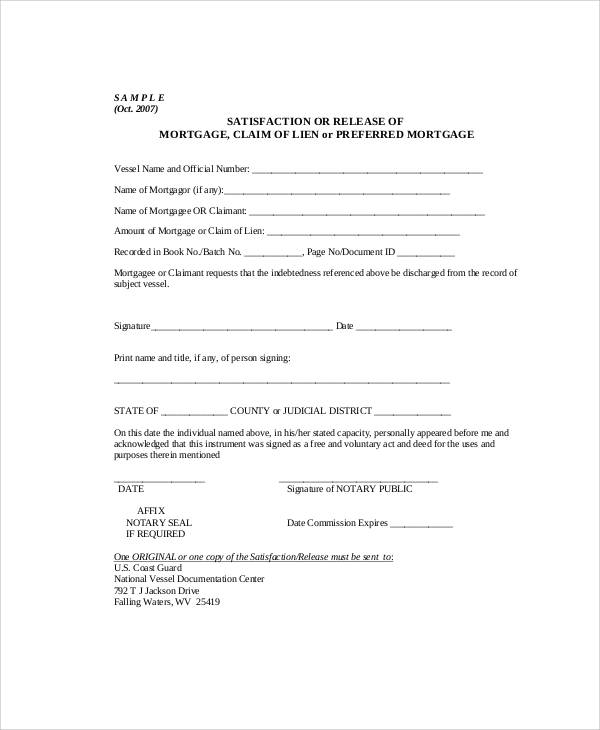 Sample Mortgage Lien Release Form  Letter Of Release Form