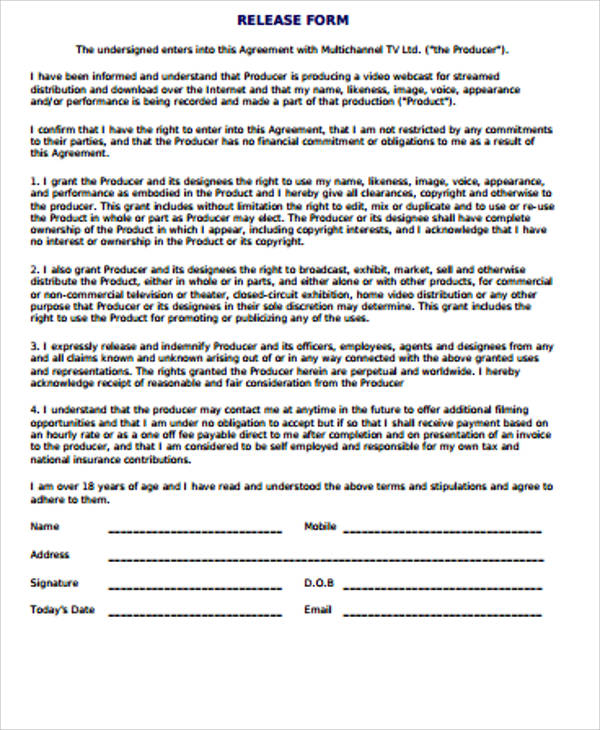 Standard Photo Release Form  CityEsporaCo